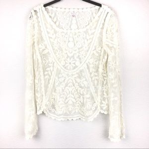 Ivory Floral Lace Long Sleeve Top Sheer Blouse